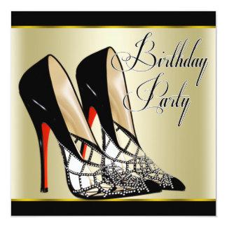 Festa de aniversário preta vermelha dos saltos convite quadrado 13.35 x 13.35cm