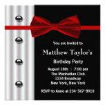 Festa de aniversário preta vermelha Invit dos home Convites Personalizado