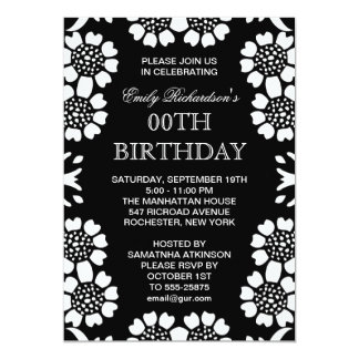 festa de aniversário preto e branco convite 12.7 x 17.78cm