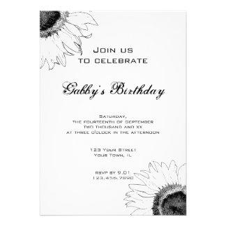 Festa de aniversário preto e branco do girassol convites personalizados