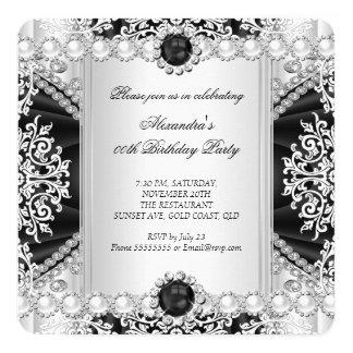 Festa de aniversário preto e branco elegante da convite quadrado 13.35 x 13.35cm