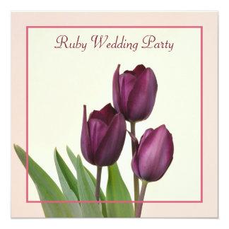 Festa de aniversário quadrada do rubi das tulipas convite quadrado 13.35 x 13.35cm