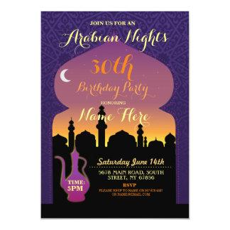 Festa de aniversário que das noites árabes toda a convite 12.7 x 17.78cm
