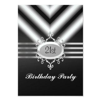 Festa de aniversário quente preto e branco de convite 12.7 x 17.78cm