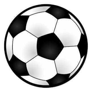 Festa de aniversário redonda do futebol convite quadrado 13.35 x 13.35cm