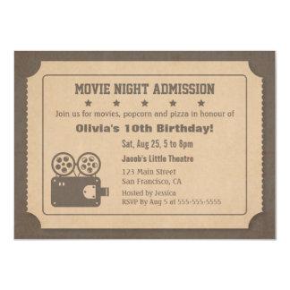 Festa de aniversário retro da noite de cinema do convite 11.30 x 15.87cm