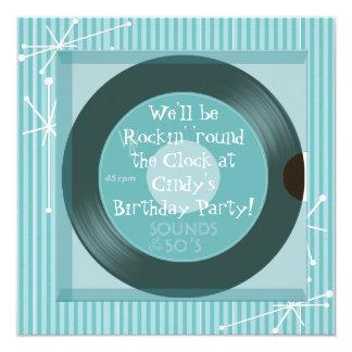 festa de aniversário retro dos anos 50 convite quadrado 13.35 x 13.35cm