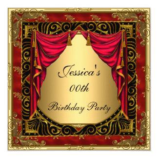 Festa de aniversário retro vermelha preta do ouro convite quadrado 13.35 x 13.35cm