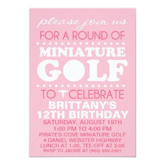 Festa de aniversário rosa pálido do mini golfe do convite 12.7 x 17.78cm