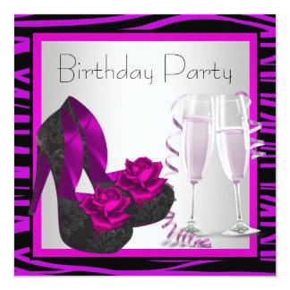 Festa de aniversário roxa da zebra da mulher dos convite quadrado 13.35 x 13.35cm