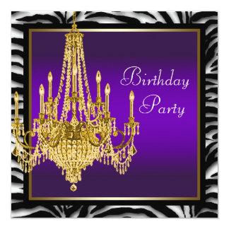 Festa de aniversário roxa da zebra do candelabro convite quadrado 13.35 x 13.35cm