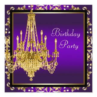 Festa de aniversário roxa do candelabro do ouro convite quadrado 13.35 x 13.35cm