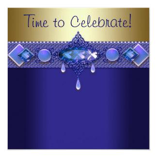 Festa de aniversário roxa do ouro dos azuis convite quadrado 13.35 x 13.35cm