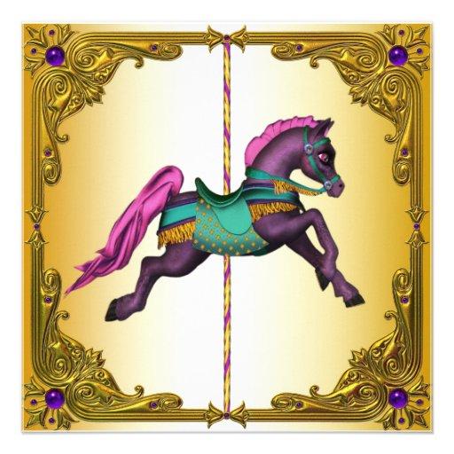 Festa de aniversário roxa do pônei do cavalo do ca convites personalizados