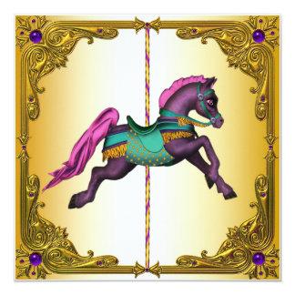 Festa de aniversário roxa do pônei do cavalo do convite quadrado 13.35 x 13.35cm
