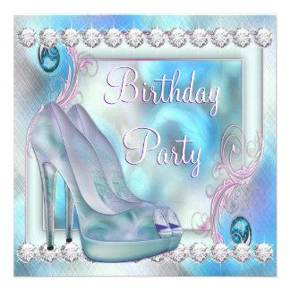 Festa de aniversário roxa dos calçados do salto al convites personalizado