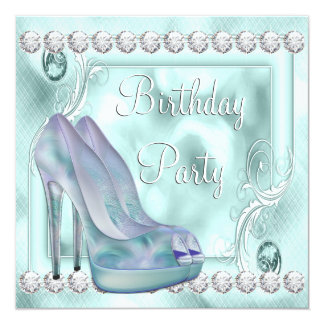 Festa de aniversário roxa dos calçados do salto convite quadrado 13.35 x 13.35cm