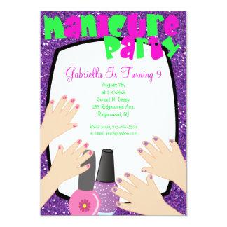 Festa de aniversário roxa dos termas do Manicure Convite