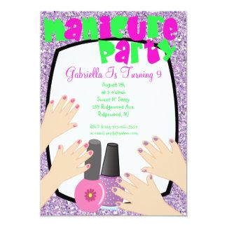 Festa de aniversário roxa dos termas do Manicure Convite 12.7 X 17.78cm