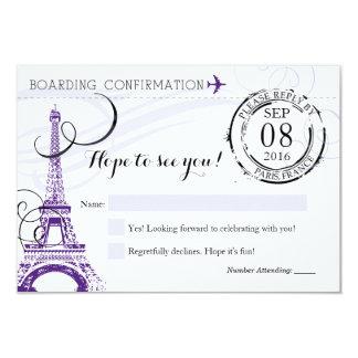 Festa de aniversário roxa RSVP de Paris France do Convite 8.89 X 12.7cm