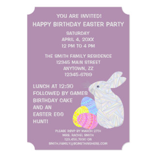 Festa de aniversário temático da páscoa branca do convite personalizados