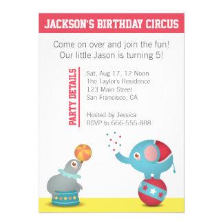 Festa de aniversário temático do circo com animais convite personalizados