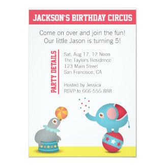 Festa de aniversário temático do circo com animais convite 11.30 x 15.87cm