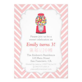 Festa de aniversário temático dos doces da máquina convites