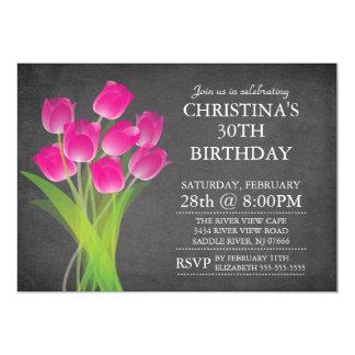 Festa de aniversário tipográfica da tulipa do convite 12.7 x 17.78cm