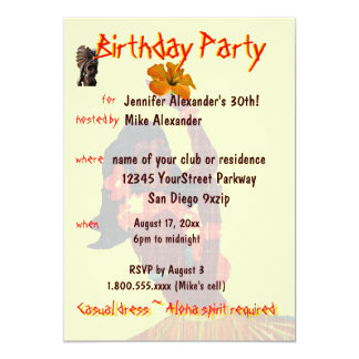 Festa de aniversário tropical da menina de Hula Convite 12.7 X 17.78cm