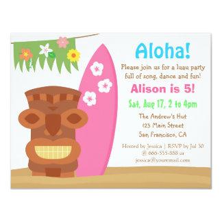 Festa de aniversário tropical da praia de Havaí Convite 10.79 X 13.97cm