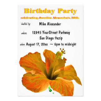 Festa de aniversário tropical do hibiscus convites personalizados