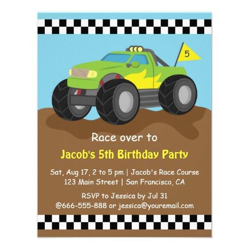 Festa de aniversário verde do monster truck convites