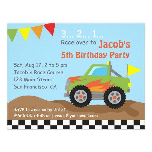 Festa de aniversário verde do monster truck convite personalizados