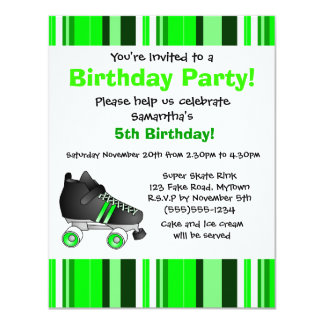 Festa de aniversário verde do skate de rolo - convite 10.79 x 13.97cm
