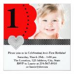 Festa de aniversário vermelha da foto das meninas convites