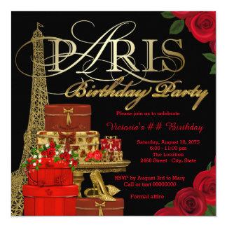 Festa de aniversário vermelha de Paris Convite Quadrado 13.35 X 13.35cm