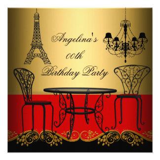 Festa de aniversário vermelha de Paris do ouro da  Convites Personalizados