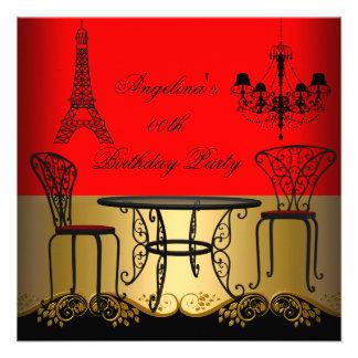 Festa de aniversário vermelha de Paris do ouro da  Convite Personalizados