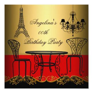 Festa de aniversário vermelha de Paris do ouro da Convite Quadrado 13.35 X 13.35cm
