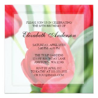 Festa de aniversário vermelha do 80 das tulipas convite quadrado 13.35 x 13.35cm