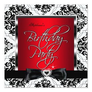 Festa de aniversário vermelha do branco do preto convite quadrado 13.35 x 13.35cm