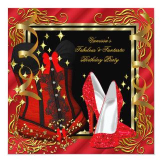 Festa de aniversário vermelha do espartilho do convite quadrado 13.35 x 13.35cm