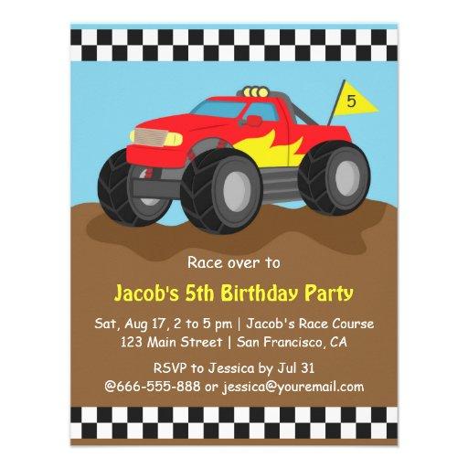 Festa de aniversário vermelha do monster truck convite personalizados
