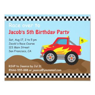 Festa de aniversário vermelha do monster truck, convite 10.79 x 13.97cm