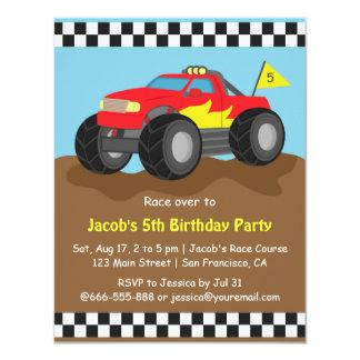 Festa de aniversário vermelha do monster truck convite 10.79 x 13.97cm
