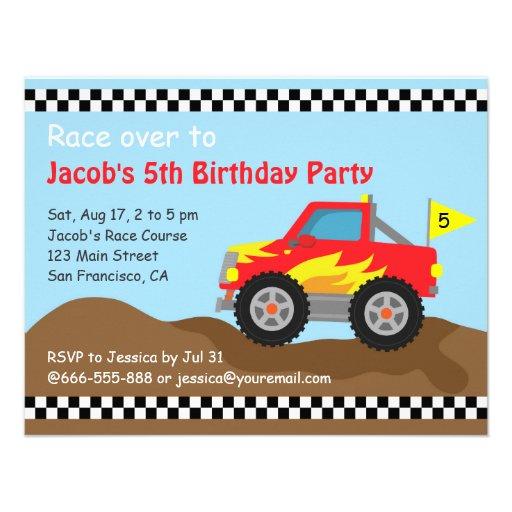 Festa de aniversário vermelha do monster truck, pa convites personalizados
