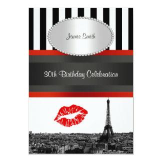Festa de aniversário vermelha do picovolt do beijo convite personalizado