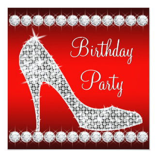 Festa de aniversário vermelha dos calçados do convite quadrado 13.35 x 13.35cm