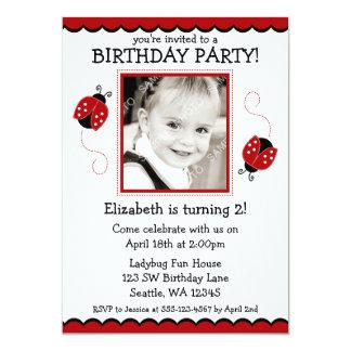 Festa de aniversário vermelha e preta do joaninha convite 12.7 x 17.78cm